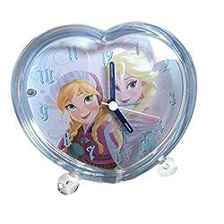 Disney Frozen Heart Shaped Acrylic Alarm Clock with Elsa and Anna