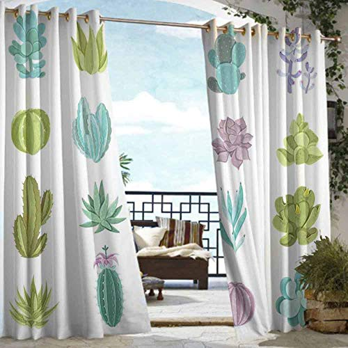 VIVIDX Indoor/Outdoor Curtains,Exotic,for Porch&Beach&Patio,W108x72L Pistachio Green Lilac Turquoise