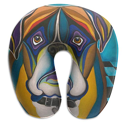 Bulldog Buddy Boxer Dog U Pillow Memory Neck Cushion for Office Car Travel Airplane