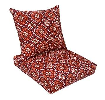 Bossima Indoor/Outdoor Red Damask Deep Seat Chair Cushion Set.Spring/Summer  Seasonal