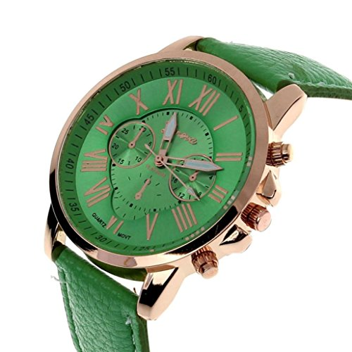 YANG-YI Man Numerals Faux Leather Analog Round Quartz Wrist Watch Women (Green)
