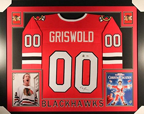 Chevy Chase Signed Framed 35x43 Christmas Vacation Hockey Jersey Beckett BAS - Beckett - Framed Chevy