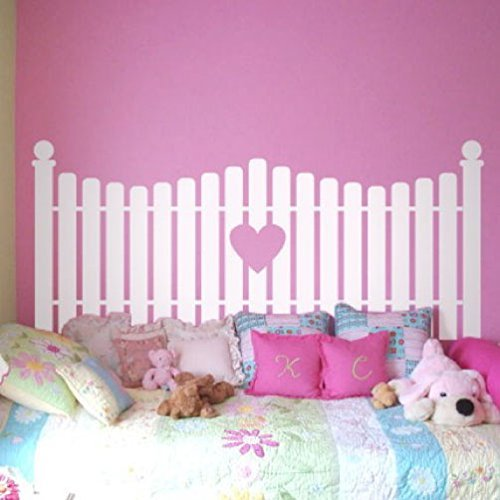 Picket Fence with Heart Cutout Silhouette Faux Headboard Vinyl Wall Decal Sticker (Picket Fence Wall Decor)