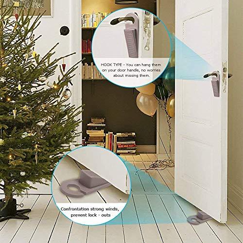 Door Stoppers, Hook Type Premium Rubber Door Stop Wedge, 6 Pack Doorstops Work On All Floor Surface for Home Office School by Zivisk (Image #2)