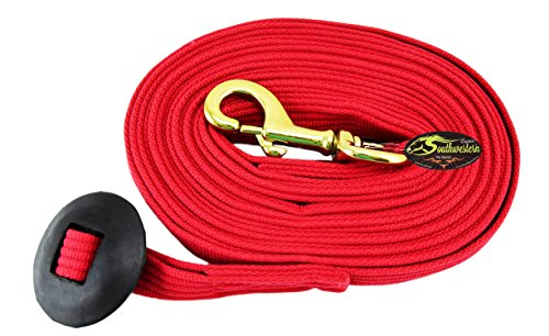 Southwestern Equine 24 Flat Cotton Web Lunge Line with Bolt Snap & Rubber Stop (Red, 24)
