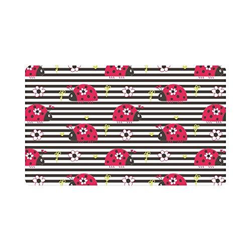 Ladybug Door Mat - InterestPrint Cute Cartoon Ladybug with Flowers on Stripes Doormat Indoor Outdoor Entrance Rug Floor Mats Shoe Scraper Door Mat Non-Slip Home Decor, Rubber Backing Large 30
