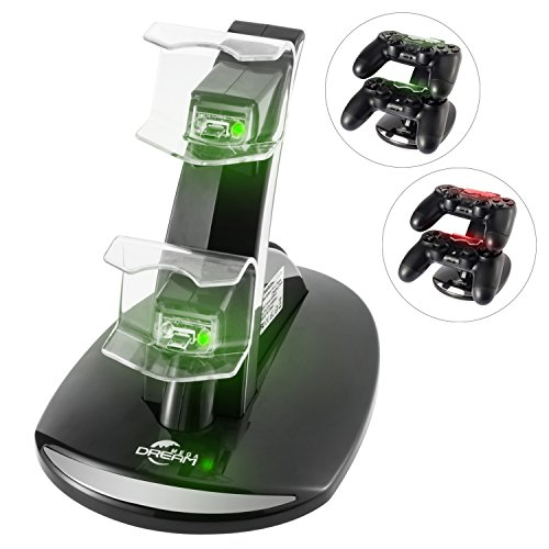 Megadream DualShock 4 Dual USB Charging Charger Docking Station Stand for Sony Playstation 4 PS4 / PS4 Pro / PS4 Slim Controller - Black