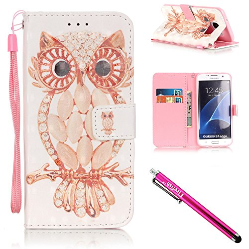 Galaxy S7 edge Case, Firefish Stand Flip Folio Wallet Cover Shock Resistance Protective Shell with Cards Slots Magnetic Closure for Samsung Galaxy S7 edge-Owl
