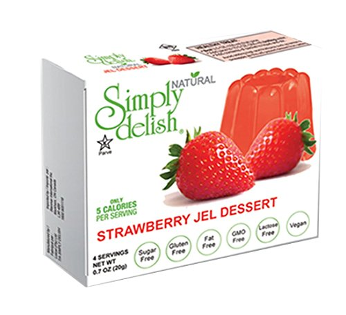 (Simply delish Natural Strawberry Jel Dessert, Sugar free, 0.7 oz., 6-pack – Fat Free, Gluten Free, Lactose Free, Non GMO, Kosher, Halal, Dairy Free, Natural)