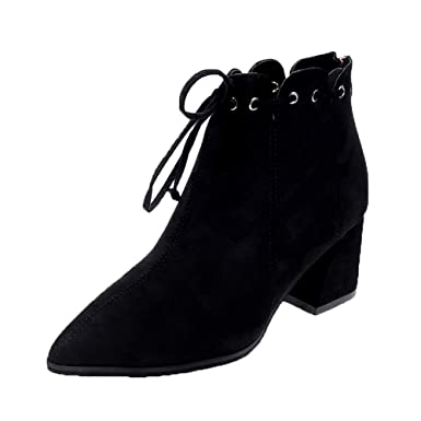 POLPqeD Zapatos Mujer Botines Tacon Ancho Negros Botines señora Botines Mujer Tacon Botines Comodos Invierno Botines