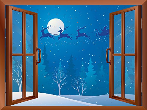 Cartoon Santa Claus and Reindeers Flying over The Trees Peel and Stick Removable Window View Wall Sticker Wall Mural