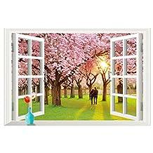 "3d Romantic Cherry Tree Wall Sticker ,CENDA Large Huge Pink Fake Windows Landscape Wall Decals Home Decorations Wall Sticker Peel & Stick-23.62"" x 35.43"""