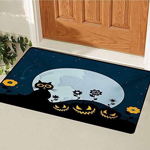 GUUVOR Halloween Front Door mat Carpet Cute Cat and Lanterns Moon on Floral Field with Starry Night Sky Star Cartoon Art Machine Washable Door mat W23.6 x L35.4 Inch Blue Black -