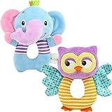 FOREAST Hand Grasp Baby Rattles Toys Soft Animal Doll 2 Pcs Set (Elephant Owl) Newborn Gift 0-3 Years Boys / Girls