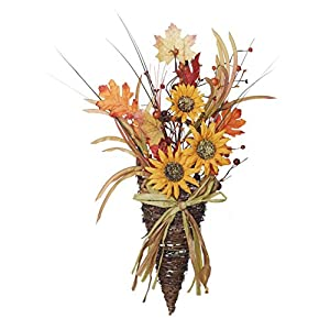 Yellow Sunflower Wild Flowers with Twig Basket 24 x 12 Harvest Door Wreath Decoration 98