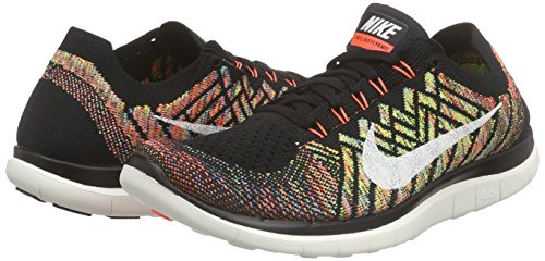 Nike Free 4.0 Flyknit Zapatillas de running, Hombre Negro / Naranja / Azul / Blanco (Black / Sl-Hypr Orng-Unvrsty Bl)