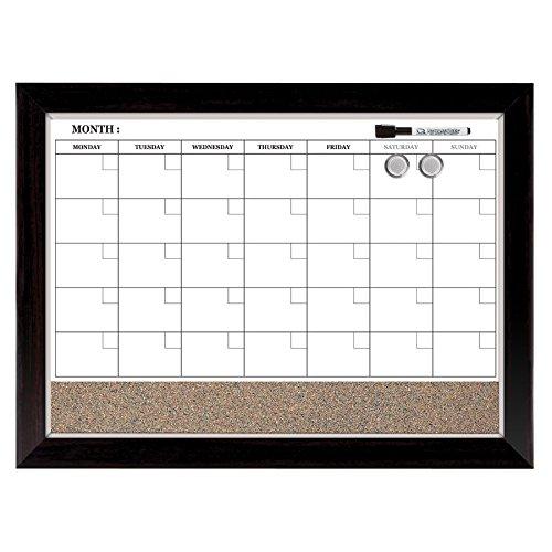 Quartet Combination Magnetic Whiteboard Calendar & Corkboard, 17