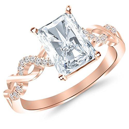 0.63 Carat t.w. 14K Rose Gold Radiant Twisting Infinity and Diamond Split Shank Pave Set Diamond Engagement Ring G/VS1