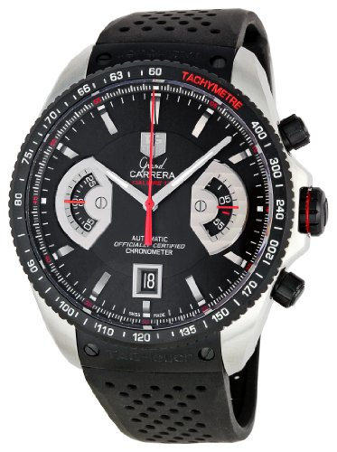 TAG Heuer Men's CAV511CFT6016 Grand Carrera Black Dial Watch