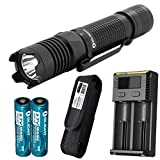 Olight M1X 1000 Lumens Compact Tactical Flashlight with Lumen Tactical Premium Holster, 2x Olight Rechargeable Batteries and Charger For Sale