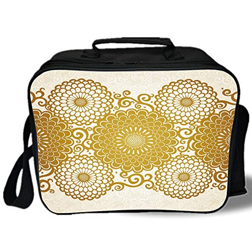 Gold Mandala 3D Print Insulated Lunch Bag,Border with Large Flowers and Curls Chrysanthemums Peonies Rococo Style,for Work/School/Picnic,Eggshell Gold