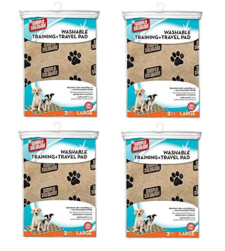 Simple Solution Large Washable Training and Travel Dog and Puppy Pad, Large - 2-Count (Pack of 4) by Simple Solution