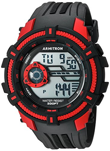 Armitron Sport Men's 40/8384RED Red Accented Digital Chronograph Black Resin Strap Watch