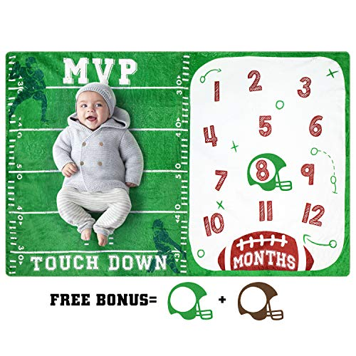Baby Monthly Milestone Blanket Football Sports Blankets for Toddler Photography Background Prop Soft Plush Fleece Baby Shower Gift
