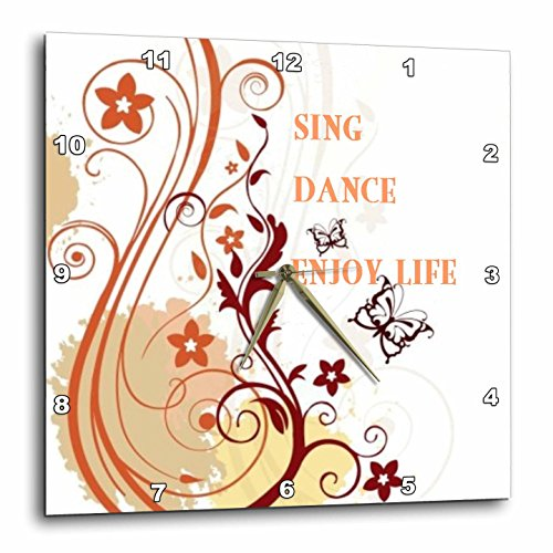 3dRose Sing Dance Enjoy Life Red N Gold Floral Scroll - Wall