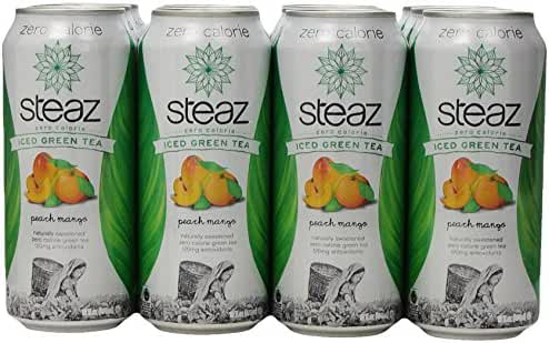 Steaz Zero Calorie Iced Green Tea, Peach Mango, 16 Ounce (Pack of 12)