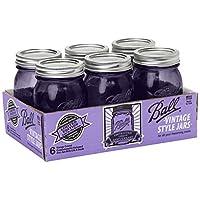 Ball Jar Colección Ball Heritage Frascos para pintar con tapas y bandas, púrpura, juego de 6