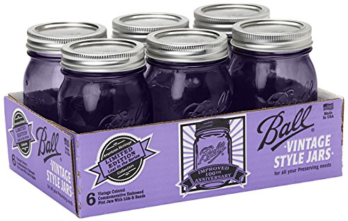 Ball Jar Ball Heritage Collection Pint Jars with Lids and Bands, Purple, Set of -
