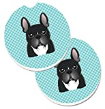 Caroline's Treasures Checkerboard Blue French Bulldog Set of 2 Cup Holder Car Coasters BB1165CARC, 2.56, Multicolor