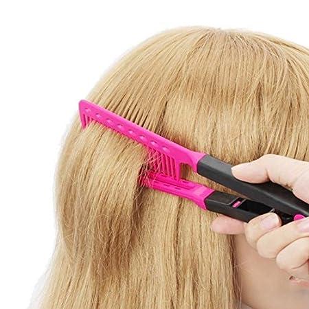 Kimberleystore – Peine para alisador de cabello en forma de V, color rojo: Amazon.es: Hogar