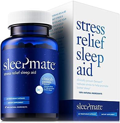 SleepMateTM Melatonin+ Natural Sleep Aid - Herbal, Non-Habit Forming, Clinically Proven Sleeping Pill with Stress Relief, Sensoril, Valerian, Chamomile, L-Theanine, GABA, 5HTP, Melatonin (1 Bottle)