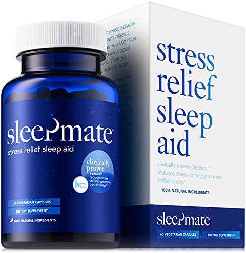 SleepMateTM Melatonin Plus Natural Sleep Aid - Non Habit Forming Clinically Proven Sleeping Pill for Stress Relief - Herbal Supplement with Sensoril Valerian Chamomile L-Theanine GABA 5HTP - 1 Bottle (1 Mg 90 Pills)