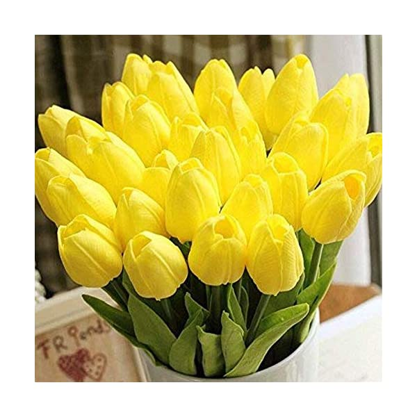 Wholesale Tulip Flower Latex Real Touch For Wedding Bouquet Birthday Party Room Decoration Best Quality Tulip Flower (yellow, 100pcs)