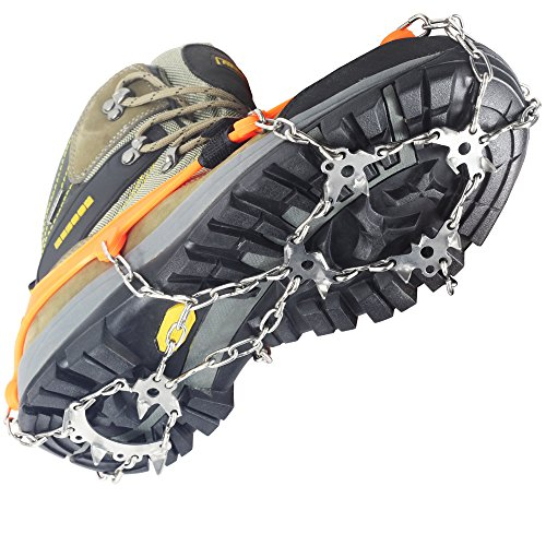 Stainless Steel Crampons - YUEDGE 18 Teeth Welding Chain Stainless Steel Crampons Ice Cleats Snow Spikes Grips Traction Cleats With Velcro Straps For Winter Walking Fishing Hiking(L