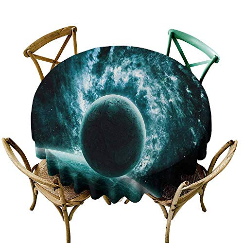 Spillproof Tablecloth Space Solar System Landscape with a Planet in Light Vast Motion UFO Asteroid Mystic Orbit View for Events Party Restaurant Dining Table Cover 60 INCH Teal ()