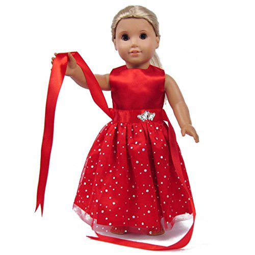 TianBo Doll Clothes - Beautiful Red Dress with Dots Outfit Fits 18 inch American Girl Doll, My Life Doll, Our - Free My Dolls Life For