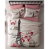 100% Cotton Paris Eiffel Tower Butterfly Pink Theme Themed Full Double Queen Size Quilt Duvet Cover Set Bedding Linens Sets
