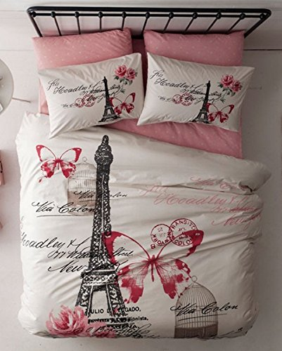 100% Turkish Cotton - 4 Pieces - Ranforce Paris Eiffel Tower Theme Themed Full Double Queen Size Quilt Duvet Cover Set Bedding, Pink (Paris Covers Duvet)