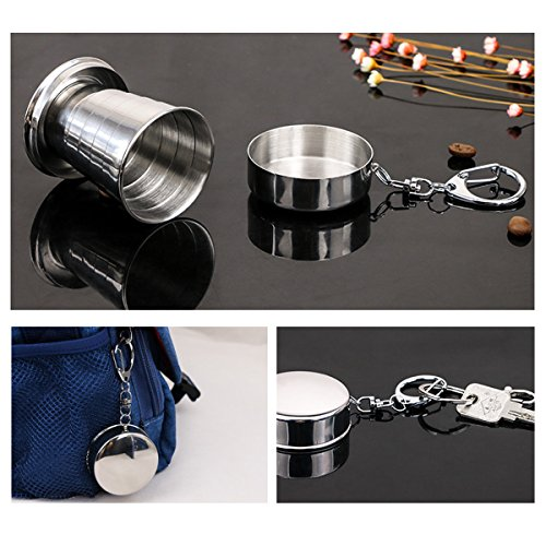 Freebily 75ml Portable Stainless Steel Folding Cup Outdoor Travel Camping Telescopic Collapsible Mug with Keychain Cover by Freebily (Image #2)