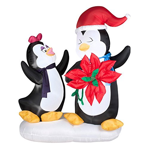 Gemmy Airblown Inflatable Animated Penguin Couple Holding Red Flower - Indoor Outdoor Holiday Decoration, 6-foot Tall x 5-foot Wide x 3-foot Deep