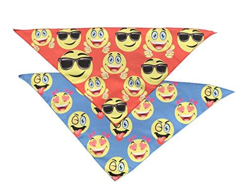 Smiley Faces Combo Pack Dog Bandana Neckerchief Scarf Triangle (21 - According To Sunglasses Face