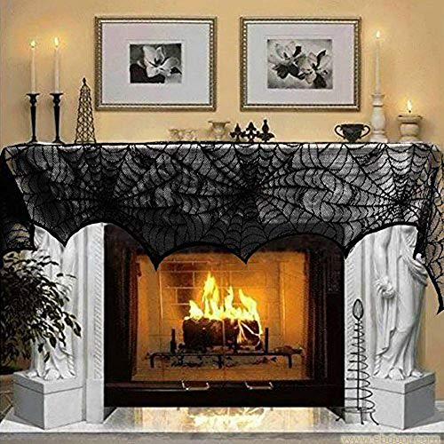Cover Mantle (Hecentur Halloween Decoration Black Lace Spiderweb Fireplace Mantle Scarf Cover Festive Party Supplies 45 X 243cm 18 x 96 inch)