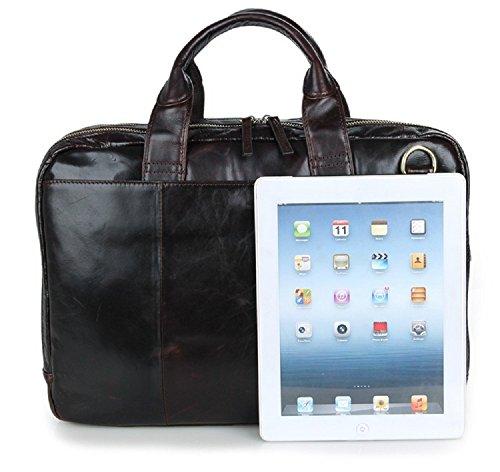FRAZILL Herren Leder Aktentasche Herren Handtaschen Herren Umhängetasche Herren Laptop Tasche Hohe Qualität JM7092 Dunkle Braun 0tiv1fzd7