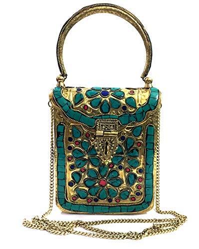 Embragues de metal dorado Bolso de mano de latón hecho a mano de metal Bolso de mano de embrague para mujer Bolso de mano desmontable: Amazon.es: Zapatos y ...