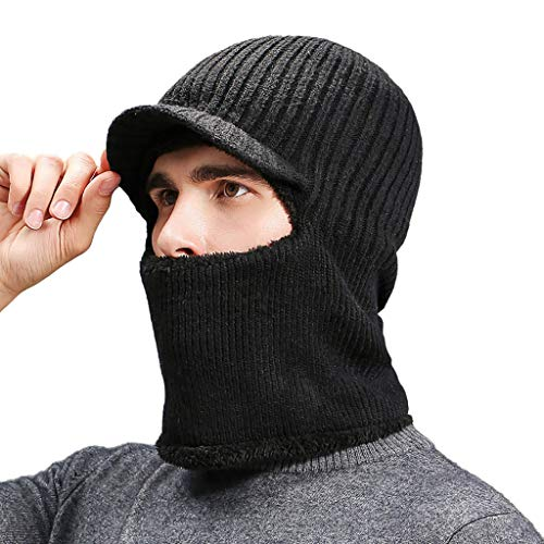 Men Knitted Hat with Scarf Cap Windproof Ski Face Mask Winter Balaclava Hood Winter Warm Wind-Proof Hat Black