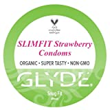 GLYDE SLIMFIT Flavored Condoms Small (Snug Fit) – Organic Strawberry Natural Condoms 5-Pack